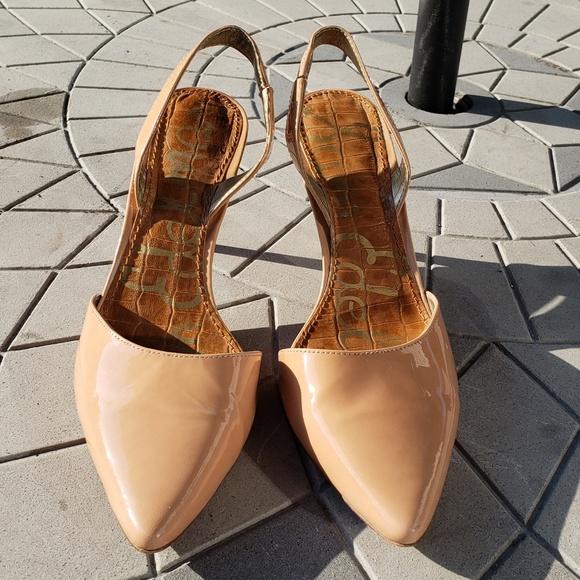 1879471ace9ee0 Sam Edelman Shoes - Sam Edelman Beige Patent Leather Slingback Heels 8